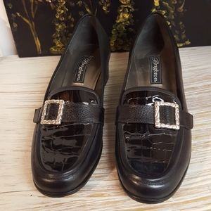Brighton Black Loafer Heels